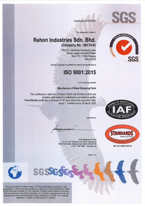 Rehon Industries ISO 9001 Certified